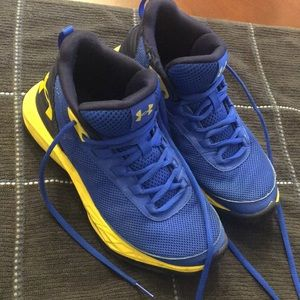 Under armor blue and yellow high top sneakers
